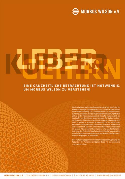 Morbus-Wilson-Plakat | Gestaltung ultramarinrot